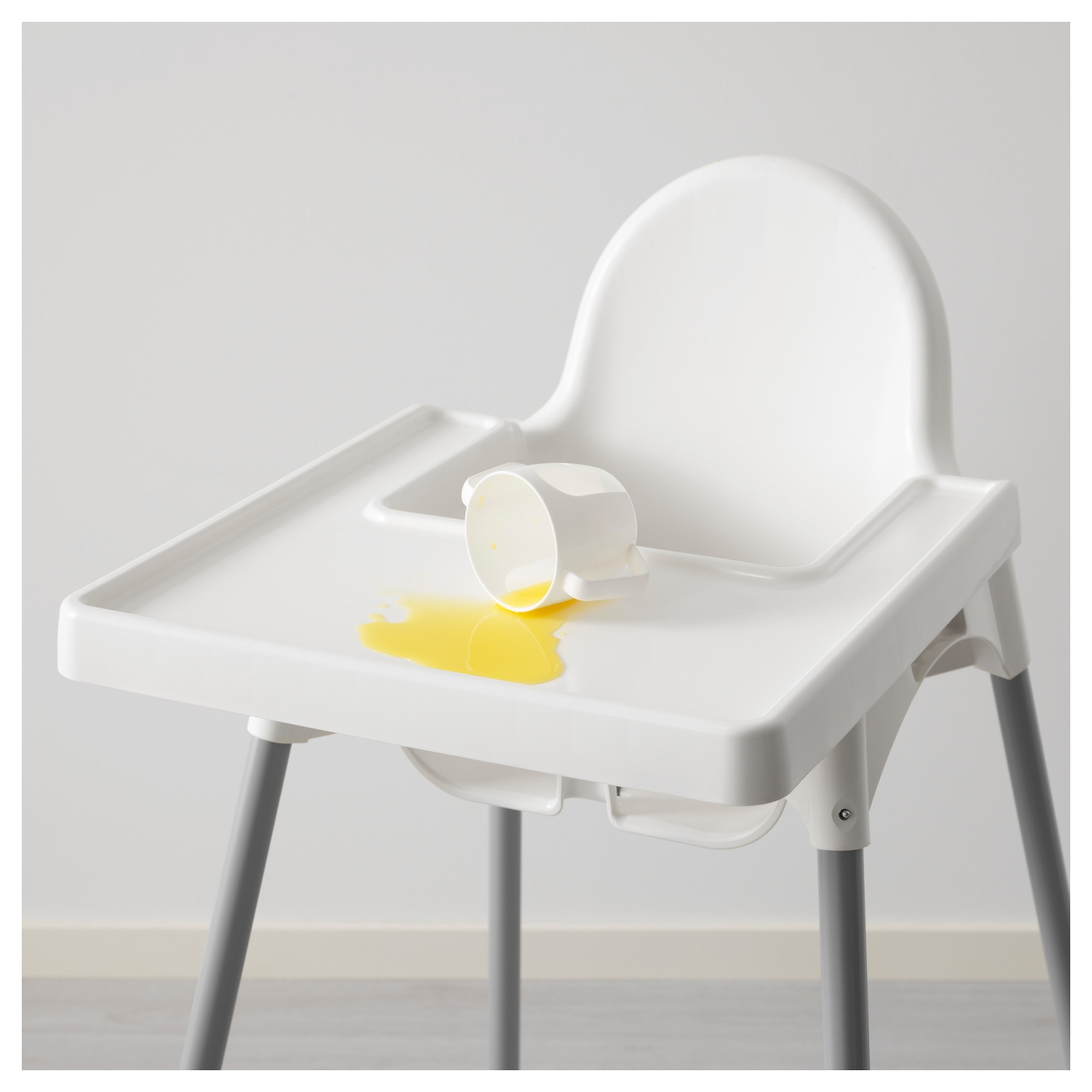Ikea Antilop Highchair With Tray Silver Colour White Pink Q Kitchen